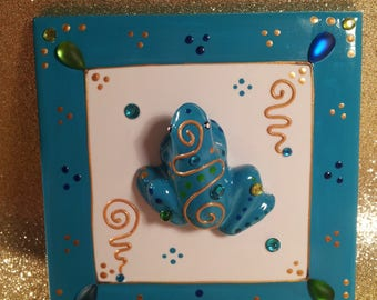 """A Blue Frog"" ceramic painting, hand painted, Laure"