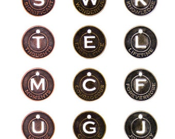charms - round  coins - muse coins - antique color metalTim Holtz Idea-Ology muse tokens - inspirational tokens - coin charm