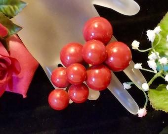 1930's Red Chalk Bead Fruit Grape Cluster Dress Fur Brooch Pin Antique Vintage Art Deco