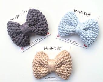 Crochet Hair Bow: Set of 3 Crochet Hair Bows - Crocheted Hair Clip - Crochet Bowtie - Infant Hair Bow- Hair Clip - Crochet Bow - Neutral