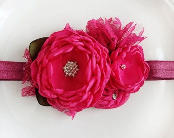 Fuschia Flowers Headband