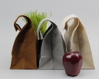 """The """"Brown"""" Bag // TRIO of WAXED Canvas Lunch Bags, updated, eco-friendly classics"""