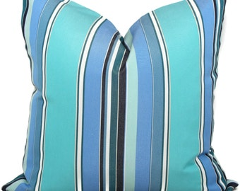 Sunbrella Blue and Turquoise  Stripe Indoor Outdoor Pillow Cover 20x20, Throw Pillow, Pool Pillow