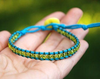Colorful bracelet, Neon bracelet, Ethnic jewelry, Woven friendship BFF gift, Multicolor jewelry, Yellow turquoise green, Woven boho jewelry