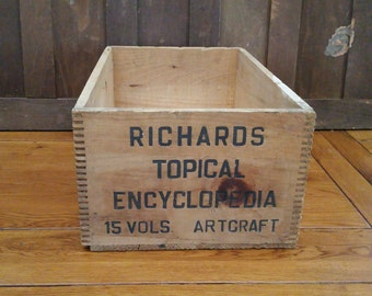 Vintage Richards Topical Encyclopedia Wood Shipping Crate