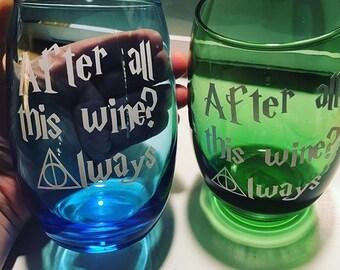 Always Harry Potter wine glass