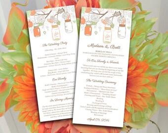 Mason Jar Wedding Program DIY Template | Citrus Peach Sage Green Gray Brown Ceremony Program | Printable Tea Length Wedding Program