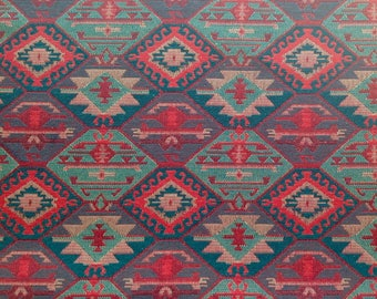 Ethnic Tribal Style Upholstery Fabric, Double-faced Cloth, Aztec Navajo Geometric Kilim Fabric, Green Red, by the Yard/Meter, Ycp-030