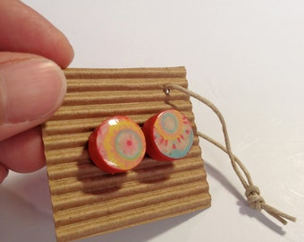 Cute Stud Earrings - Red,Pink,Yellow and Blue - Wooden Earrings - Faux Plugs - Colorful Patterns