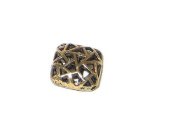 14mm Gold Square Metal Spacer Bead - 2 beads