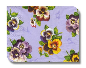 Floral paper napkin for decoupage, mixed media, collage, scrapbooking x 1. Pansy . No 1088