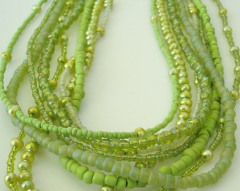 light green pearl and seed bead multi-strand necklace - 35 to 38 inches