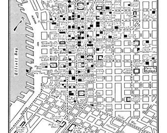 1949 Vintage Map of Downtown Seattle Black and White