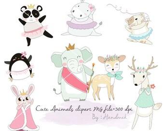 Cute animals Girls Clip Art  PNG file-300 dpi