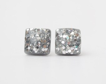 Silver Glitter Square Studs. Surgical Steel Posts.