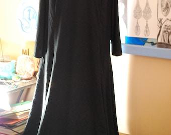 long, black, dress, vintage, 1990s, gothic, extra large, artsy, flowy, sale, long dress, black dress, vintage dress, sale dress, long black
