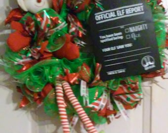 The Naughty or Nice Christmas Elf Wreath