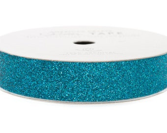 """Glitter Tape Peacock Teal - 5/8"""" x 3 yds - 100% Archival"""