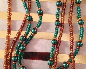 Emerald Green & Rust Pearl Necklace with Glass Beads