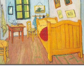 Vincent Van Gogh - Bedroom in Arles (1888) - Art Print Painting Poster Gift Photo Quote Wall Home Decor UNFRAMED
