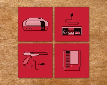 Nintendo icons handmade screen print set