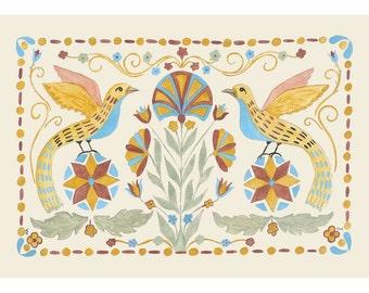 "Folk art frameable greeting card print, ""Finders"""