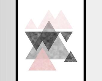 Abstract print, Modern print, Graphic art, Scandinavian, Black white pink, Digital art, Printable art, Digital poster Instant Download 8x10