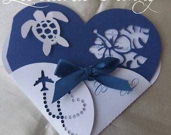 hibiscus heart wedding invitation