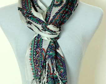 Floral Paisley Scarf (Green & Purple)