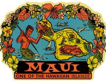 Vintage Style Maui  Hawaii  Travel Decal sticker
