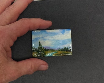 miniature painting miniature art acrylic original meadow brook wood panel artbyevelynmarie 1 1/2 x 2 1/4