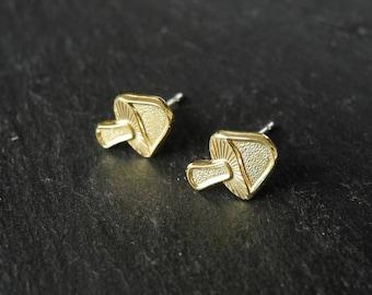 Mushroom Earrings, Woodland Jewelry, Miniature Mushroom Earrings, Brass Jewelry, Autumn Fall Jewelry, Sterling Silver Hypoallergenic Studs