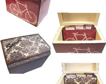 Wooden Recipe Box, Tab Divider, SET, Decoupaged, Kitchen Organizer, Decorative Recipe Box Set, Recipe Holder, Owl, Bird Decor, MADE To ORDER