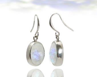 SUMMER SALE - Moonstone earrings,October birthstone earrings,silver earrings,rainbow moonstone,dangle bezel earrings
