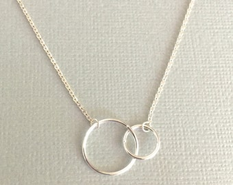 Double Circles Necklace, Silver Infinity Necklace, Double Links Necklace, Sterling Silver Ring Necklace, Sisters Necklace, Mothers Necklace