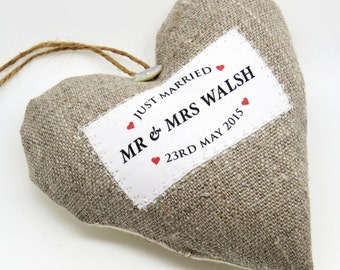 Just Married Personalised Wedding Present / Wedding Gift - Personalised Heart Produced in Your Choice of Fabric. Supplied Gift Boxed