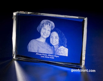 """Custom Laser Etching Picture Crystal Cube 6""""X4"""" SH26 Personalized Engraved Photo Glass Gift By Goodcount Fine Crystal"""