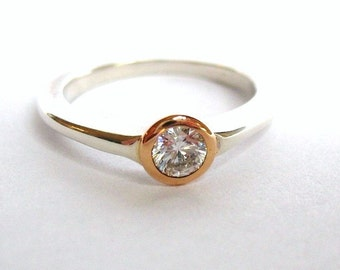 Small Gold And Silver Gypsy Set Ring