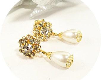 Vintage Earrings, Vintage Pearl Earrings, Vintage Rhinestone Earrings, Drop Earrings, Gold Earrings Wedding Earrings, Bridal Earrings