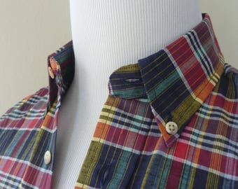 DEADSTOCK Vintage 100% Cotton Indian Madras Plaid Button Down Collar Trad / Ivy League Casual Shirt S 15 - 32.  Made in USA.