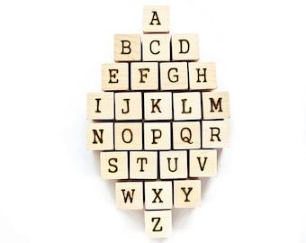 Baby Shower Blocks - Unsealed Wooden Alphabet Block Set - Unfinished Wood Baby Blocks - Build a Memory Blocks - Baby Shower Gift