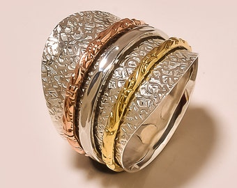 Three Tone Spinning ring, Meditation ring, statement ring, Spinner Ring US-6,7,8,9,10,11 Jewelry, free shipping