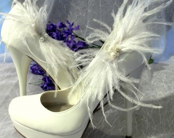 Shoe Clips -Ostrich Feather Bridal Wedding Shoe Clips - Sparkling Rhinestone Rondells, Freshwater Pearls, Swarovski Crystals