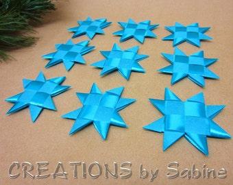 Turquoise Stars Decoration Flat Ribbon Stars Set of 9 Star Origami Table Decor Folded Decoration Froebel READY TO SHIP (111/112)