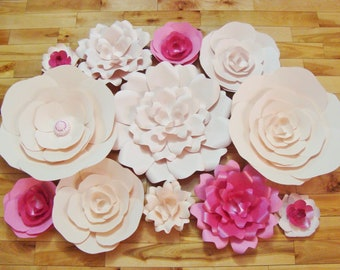Set of 12 Paper Flowers -  Paper Flower Wall | Paper Flower backdrop | Baby Nursery Decor | Home Decor | Large Paper Flowers | Baby Room