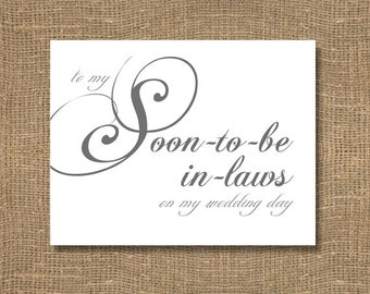 To My Soon To Be In-Laws on My Wedding Day - Wedding Card