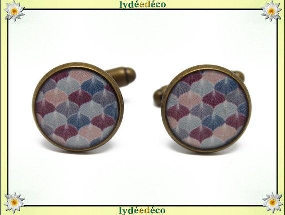 2 retro suit cuff links resin pink purple blue grey Ginko Japan brass 14mm