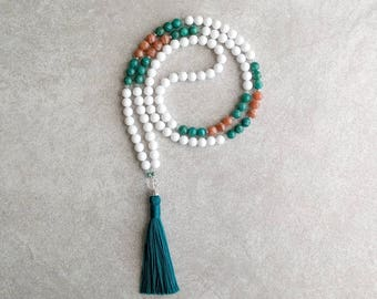 """White Mala Beads - Dolomite """"Jade"""" with Russian Amazonite & Howlite - Meditation Beads For All Religions - Item # 982"""