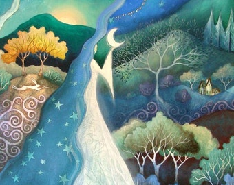 Moon Goddess art print. 'Bringer of Night'.Special edition art print embellished with gold leaf. By Amanda Clark. Mystical landscape art