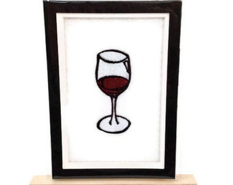 "Embroidery WINE Image Matted 5"" x 7"" Embroidered Design Wine Glass Ready for Framing - Ready to Ship"